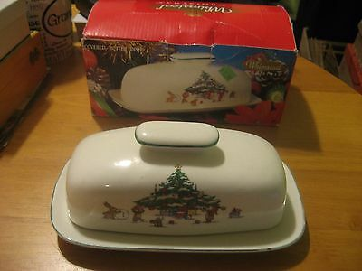 """Salem Whimsical Christmas 8"""" Covered Butter Dish With Box BIG PRICE DROP"""