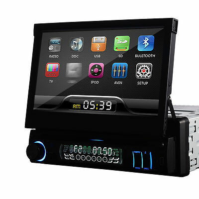 "7"" Single Din Car CD DVD Player In Dash Stereo LCD Touch Screen Bluetooth Radio"