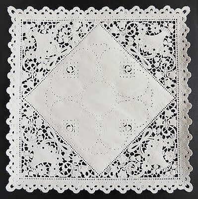 "75 - 8"" SQUARE WHITE Paper Lace Doilies 