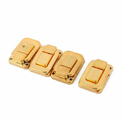 Household Metal Suitcase Lock Hook Hinge Toggle Box Latch Hasp Gold Tone 4 Pcs
