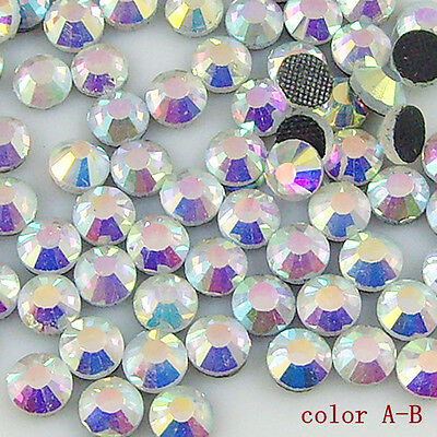 1440 pcs white AB color Crystal Clear Hot Fix Iron On Rhinestone beads All Sizes