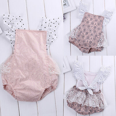 Pink Toddler Baby Girl Lace Floral Romper Bodysuit Jumpsuit Outfits Sunsuit 0-2T