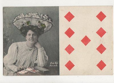 One For His Nob 1906 Playing Card Postcard J Welch [JWS 2861] 774a