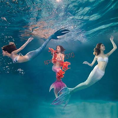 Kids Adults Swimmable Mermaid Tail Swimming Costume With Monofin Fin Cosplay New