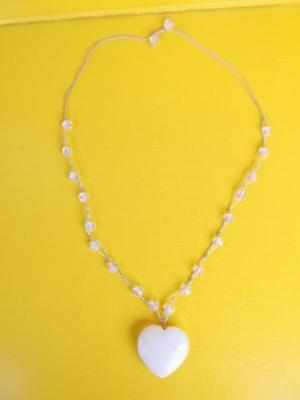 691 / Lovely Heart Shaped Opalescent Glass Pendent With Opalescent Glass Beads