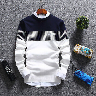 Korean Fashion Cardigan Jacket Jumper Men Knit Pullover Coat Long Sleeve Sweater