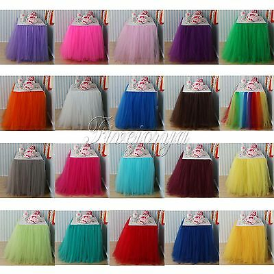 100cm x 80cm Tulle Tutu Table Skirt for Baby shower Party Wedding Decor 22 Color