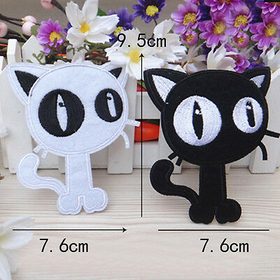 1pc/set Embroidered Sew Iron on Patch Badge Black Cat Shape Fabric Appilque DIY