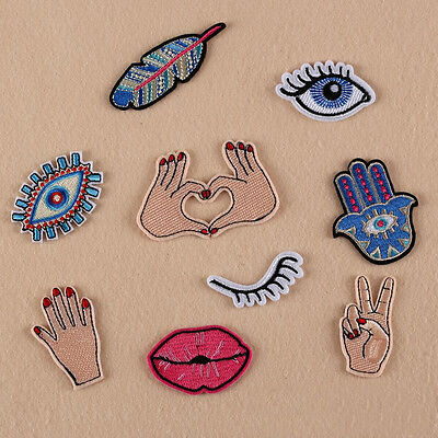 1pcs Embroidered Hand Eyes Motif Sew Iron On Patch Badge Cloth Bag Applique DIY