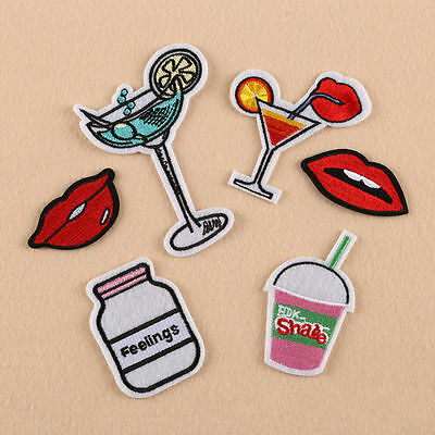 6pcs Embroidery Drink Lip Pattern Sew Iron On Patch Badge Bag Applique Fabric