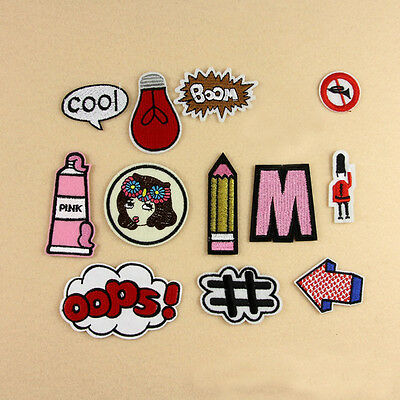 13Pcs Embroidery Boom Oops Pulb Sew Iron on Patch Badge Bag Hat Applique DIY