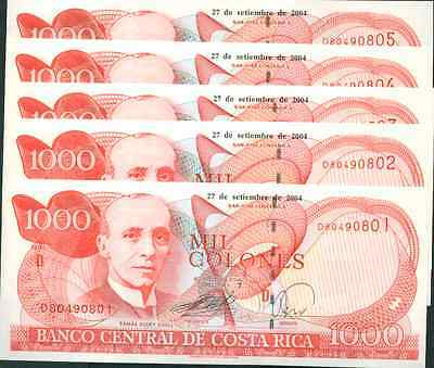 COSTA RICA LOT 5x 1000 COLONES 2004. UNC CONDITION