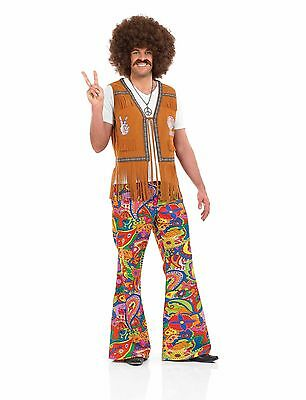 Mens 60s Psychedelic Flares For 70s Fancy Dress Adults Male Costume