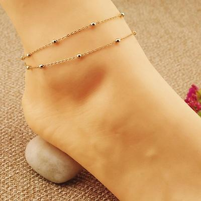 Cute 1/2Pcs Noble Gold Double Chain Anklet Bracelet Jewelry Barefoot  Anklet