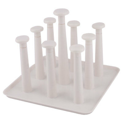 Home Plastic Coffee Drinking Cup Mug Organizer Drying Drain Rack Holder White
