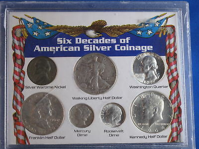 Six Decades Of American Silver Coinage 7 Coin Set B4516