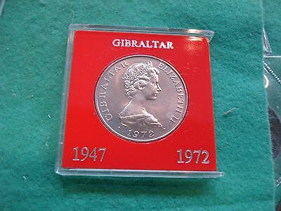 Gibraltar 25 Pence Crown 1972 QEII Silver Wedding Anniversary Cased FREEPOST