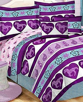 Purple Paisley Pony Horse Girls Kids Full Comforter Set (8 Piece Bed In A Bag)