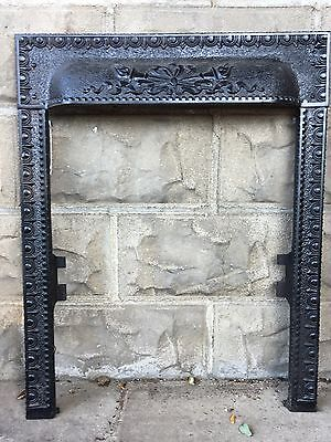 Antique Victorian Cast Iron Fireplace Insert Cover Surround Panel Architectural