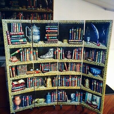 "Genuine 1989 Fornasetti wood screen Books colored decor 55"" X 55"" the last one"