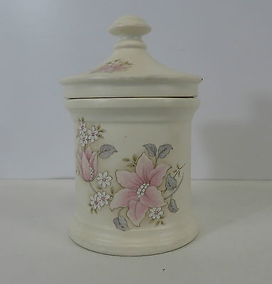 """Purbeck Pottery Gifts Poole Dorset Lidded Floral Patterned Jar 4.5"""" High"""