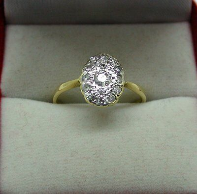 Gorgeous Art Deco 18ct Gold And Platinum Diamond Cluster Ring