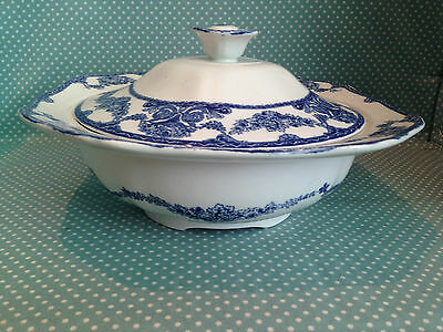Victorian antique blue & white transfer ware serving tureen. Roselle Pattern.