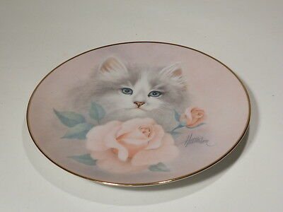 (Blushing Beauties) Hamilton Plate 1St Issue Petals To Purrs Cat & Pink Roses