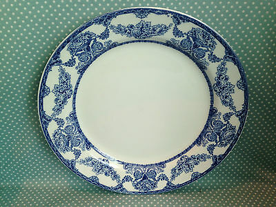Victorian antique flow blue & white transfer ware dinner plate. Roselle Pattern.
