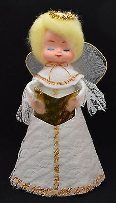 ANGEL HOLDING HALO Christmas TREE TOPPER Vintage 1950s WHITE LACE BLONDE Japan