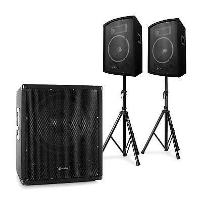 """Systeme Sono Dj 2.1 Actif Skytec Subwoofer 15"""" Pack Enceintes Pa 10"""" + Supports"""
