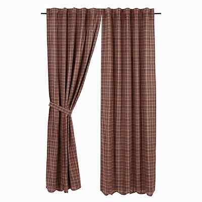 PARKER Scalloped Panel Set Burgundy/Navy Plaid Lined Primitive Rustic