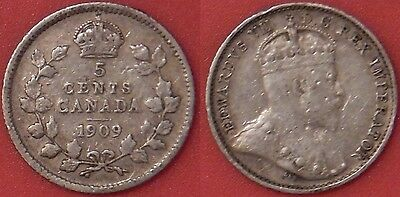 Very Fine 1909 Canada Rounded Leaves Silver 5 Cents