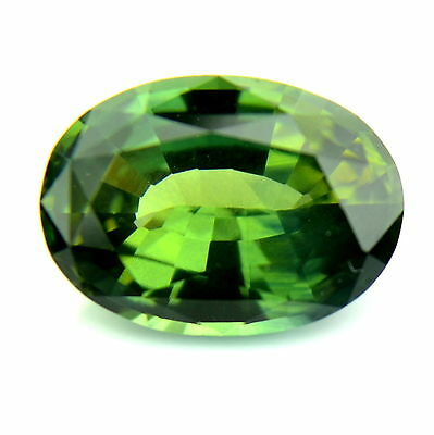 Certified 1.39ct Natural Unheated Green Sapphire Oval 6x8mm VS Untreated Gem