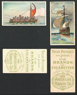 ATC: Old Ships 1st: Cigarette Card pair 1900