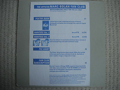 MARC BOLAN : FAN CLUB MERCHANDISE SHEET from Around 1991 .. T.REX . ( SIZE A4 )