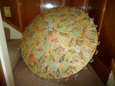 GOOD Retro Oriental Style Paper+Wood Parasol-Stage Prop-Display-Photoshoot  #1