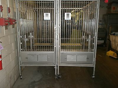 STAINLESS STEEL VET KENNEL / DOG CAGE ,YOU GET 2... as shown 79w x 76d x 82 h