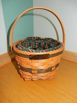 Longaberger Christmas Collection 1994 Edition Jingle Bell Basket & Fabric Liner
