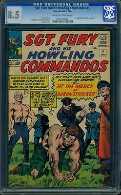 Sgt. Fury and His Howling Commandos 5 CGC 8.5 - OW/W Pages - 1st Baron Strucker