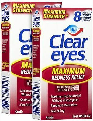 2pk Clear Eyes MAXIMUM STRENGTH Redness Relief Eye Drops - 2x 0.5 floz/15ml
