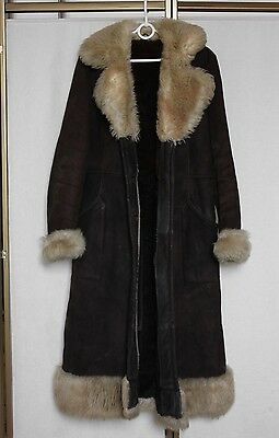 Vintage 60s 70s Afghan Russian Princess Shearling Real Fur Coat Jacket M