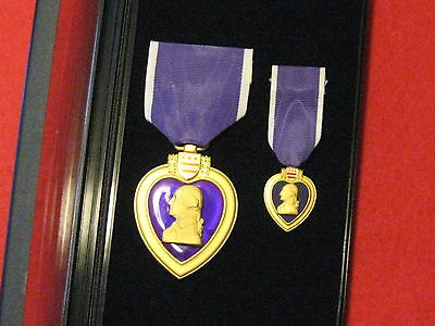 Full Size And Miniature Boxed Usa Purple Heart Medal Set