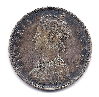 1862 British India Silver One Rupee--Full Crown Details !!