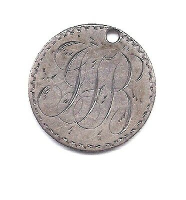 """1883 Silver Seated Liberty Dime Love Token Hand Engraved to """"JJB"""""""