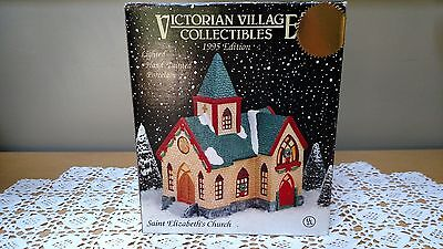 Victorian Village Collectible  Lighted Saint Elizabeth's Church, 1995 Edition