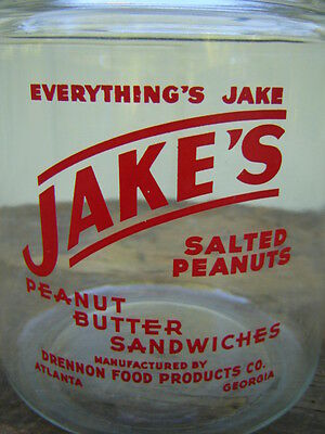Vintage Original Country Store Jar: Jake's Peanuts & Snacks - One Gallon - Htf