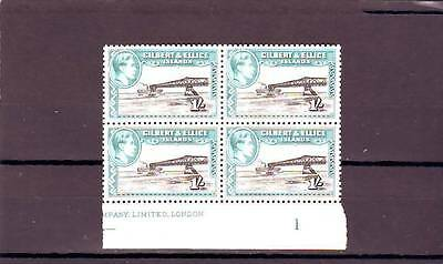 a118 - GILBERT & ELLICE - SG51ab MNH 1939 1/- BLOCK OF 4 W/CONTROL # 1