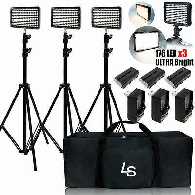 3 x 176 LED Video Light Batteries Charger Stand Kit with Deluxe Bag for Canon Ni