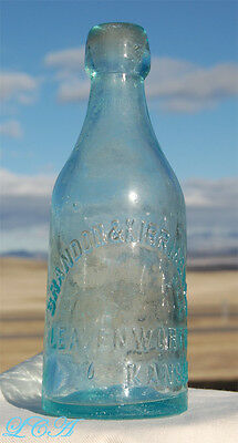 Nice early LEAVENWORTH KANSAS applied blob top soda bottle BRANDON & KIRRMEYER